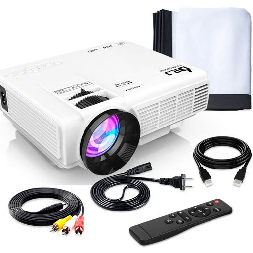 DR. J Professional HI-04 Mini Projector Outdoor Movie Projector with 100Inch Projector Screen