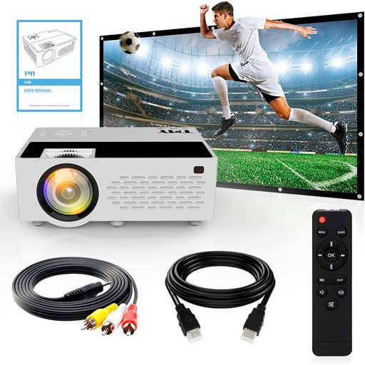 TMY Projector with 100 Inch Projector Screen, 1080P Full HD Supported Video Projector
