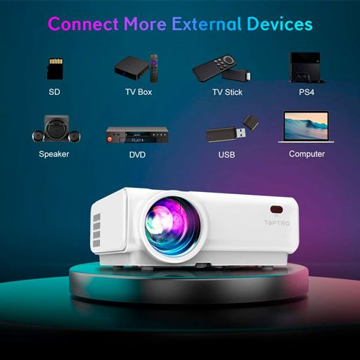 TOPTRO WiFi Projector TR21 Bluetooth Projector,Support 1080P Home Video Projector