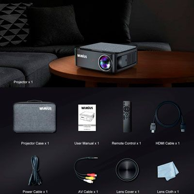 WiFi Bluetooth Projector, WiMiUS K1 Video Projector Native 1920x1080 LED Projector Support 4K, ±50° Keystone