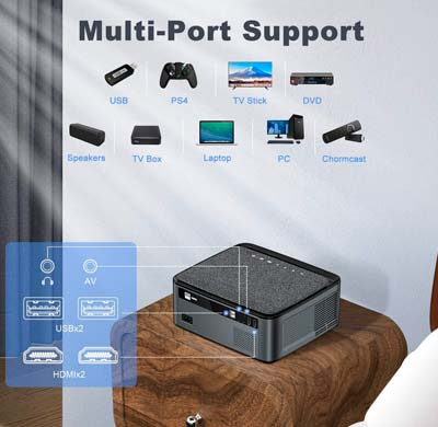 TOPTRO Bluetooth WiFi Projector with Carrying Case, Native 1080P Portable Projector X1