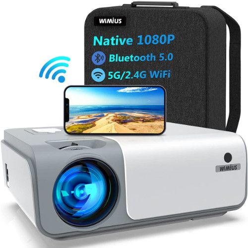 WiMiUS W1 WiFi Bluetooth Projector 8500L Full HD, Native 1080P, Smooth 5G Wireless iPhone Projector for Home and Outdoor Movies